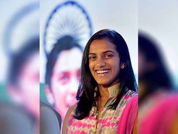 P V Sindhu during a felicitation event in Mumbai