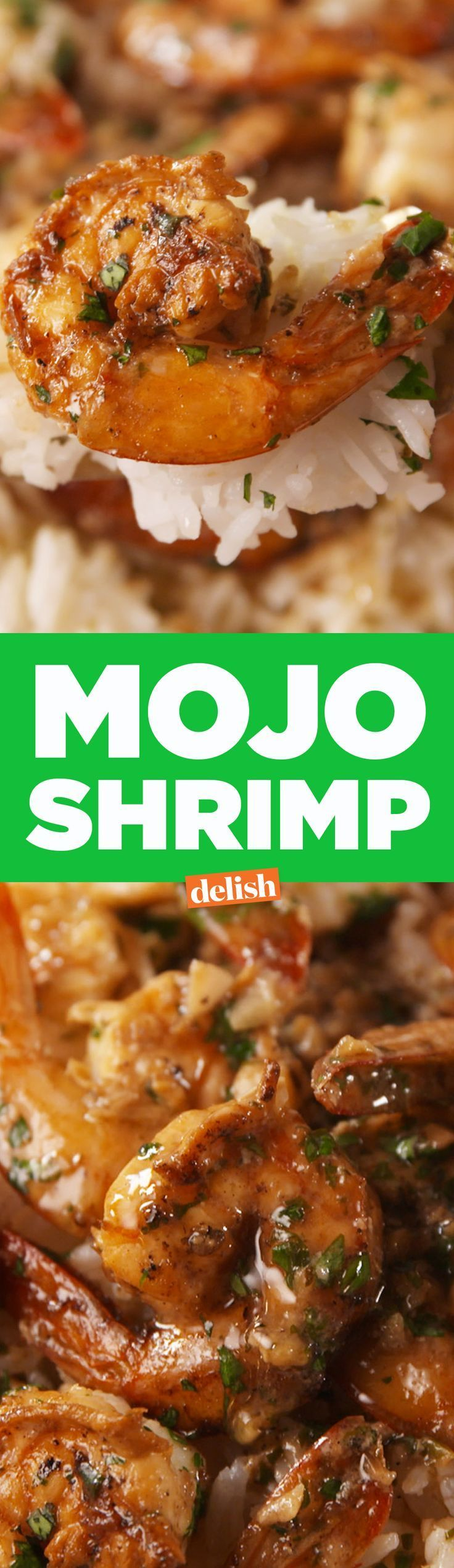 This Mojo Shrimp will really get you going. Get the recipe on Delish.com. #seafoodrecipes