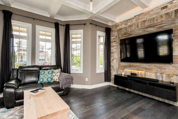 Barn Board Amp Marble Entertainment Accent Wall Coffered