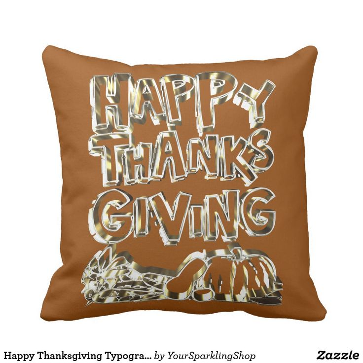 Happy Thanksgiving Typography Gold Harvest Pumpkin #throwpillow #thanksgiving #thanksgivingdecor