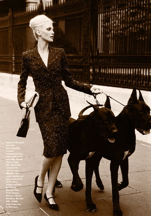 "Nadja by Arthur Elgort, 1995 Nadja Auermann (born March 19, 1971) is a German model and actress. Fashion designer Valentino once commented on her physical resemblance to Marlene Dietrich. A New York Times fashion columnist, Guy Trebay, wrote of her ""ice maiden visage and pole vaulter's legs""."