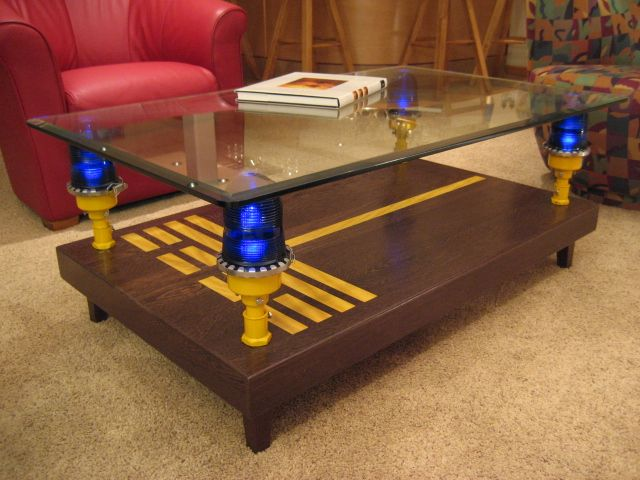 coffee table runway with taxiway lights aviation decorairplane - Aviation Decor