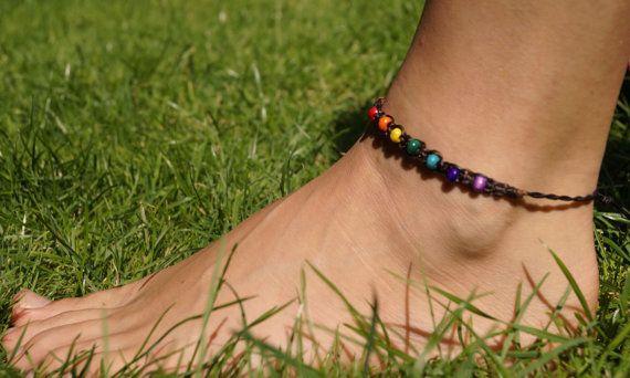 Chakra Ankle Bracelet Macrame Yoga Rainbow By Moonpixiecreations Cool Stuff Pinterest Bracelets And