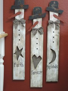 Faith, Family, Friends snowmen made on a Paint stick.  With mesh wire on the cutout.  Easy to make - oldecrow primitives