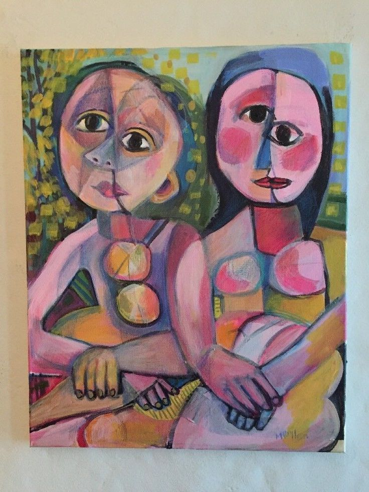 Picasso People Picasso Style By Melissa Bollen Oil Pastel Red Blue Green Cubism #Cubism
