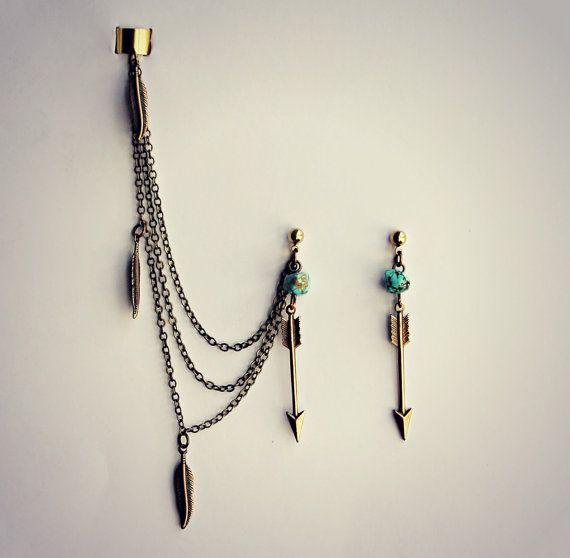 arrow ear cuff earrings with turquoise and feathers, chains ear cuff, feather ear cuff, arrowhead earrings, tribal earrings