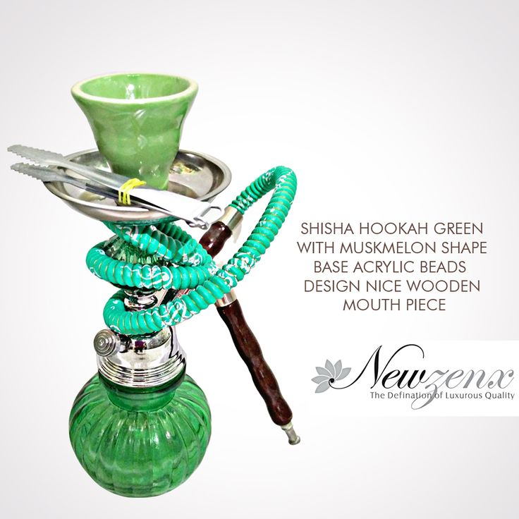 "Shisha Mini Green Hookah 12"" -New Zenx Shisha Hookah Green with muskmelon shape base acrylic beads design nice wooden mouthpiece. Shop Now :- www.newzenx.com #newzenx #smokingglass #glasspipes #shishahookah"