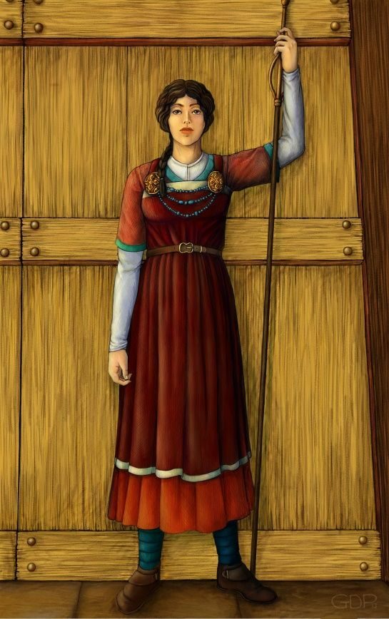 The Norse goddess Syn, who guards the door to the Hall of ...