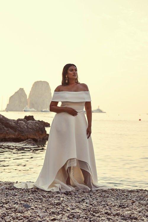 445da97efa Off Shoulder Short Sleeves Plus Size High-Low Solid Satin Beach Wedding  Dress