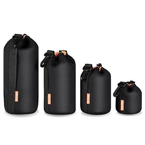 Ofertas de (4 Piezas) K&F Concept Set Funda Objetivos Protección Neoprene Grueso para DSLR Cámara Lente (Canon, Nikon, Pentax, Sony, Oly