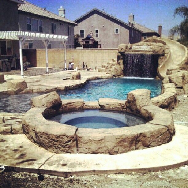 Luxury House Pool With Waterfall And Slides: 17 Best Images About Gunite Slide & Grotto On Pinterest