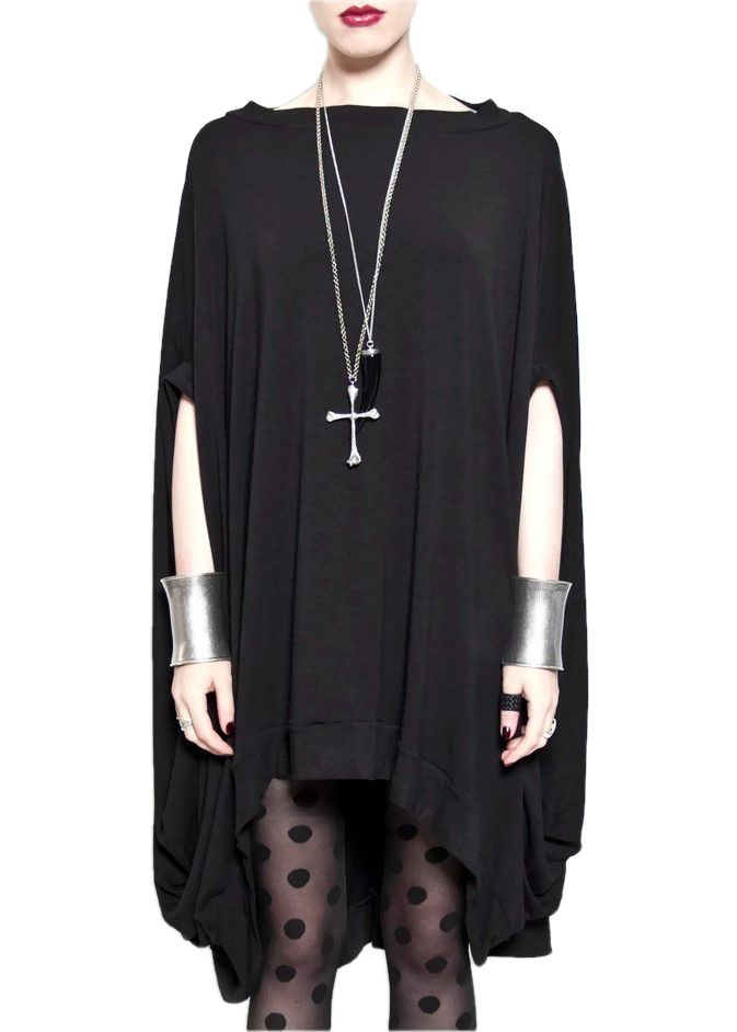 Modern Witchy Oversized Tunic Gothic Cloak Design Elements High Crew Neck Banded Neckline Bold Exaggerated Round Modern Silhouette Geometric Wide Loose Sphere Draped Dress Silhouette Boat Neckline Fin