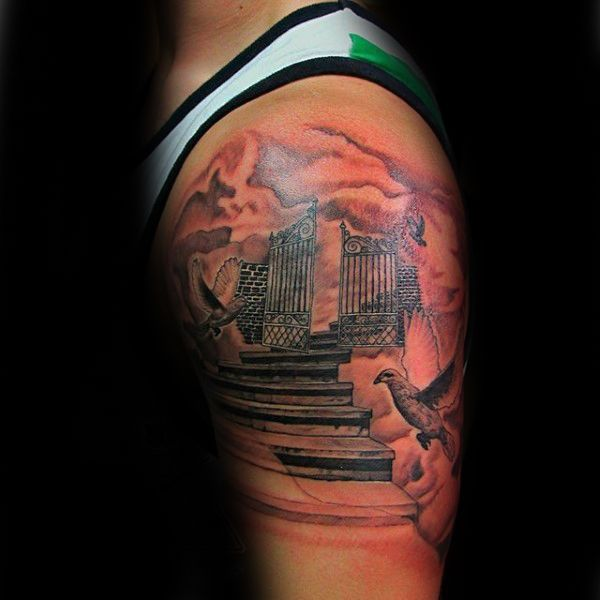 Upper Arm Male Heaven Gates With Stairs Tattoo Tattoos