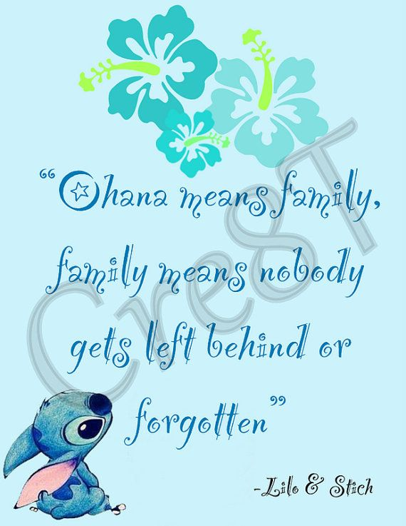 "Disney Lilo and Stich Movie Quote Print by Cre8T on Etsy, $3.00 Hey guys! Check out my Etsy Store, ""Cre8T"", for more Prints & Photography.  -Tia"
