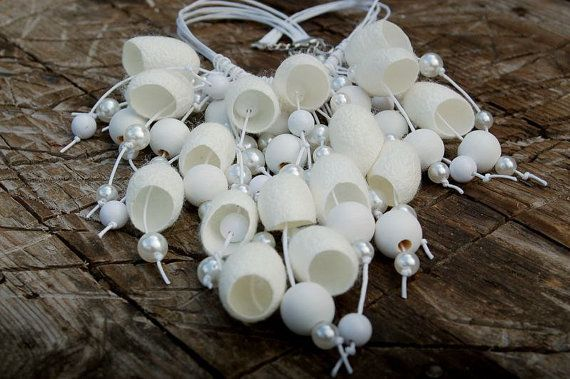 Bruiloft sieraden set Silk Bridal ketting zijde cocoon bruiloft oorbellen zijde cocoon zijde cocons bruid ketting Eco vriendelijke Handgemaakte halsketting
