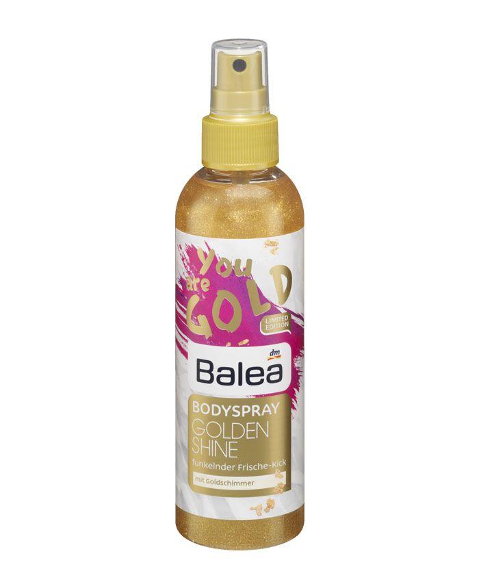 Купить увлажняющий спрей для тела с золотым блеском Balea Bodyspray Golden Shine в Баку. Увлажняет кожу, придает аромат и мерцающий блеск. Отзывы, цена. Интернет-Магазин BODY CARE