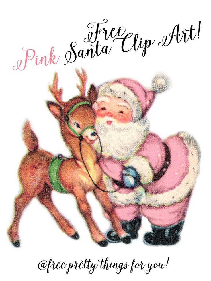 Christmas Images: Free Pink Santa Clip Art - Free Pretty Things For You #FreeImage, #FreePinkSantaClipArt, #FreeSantaClipart