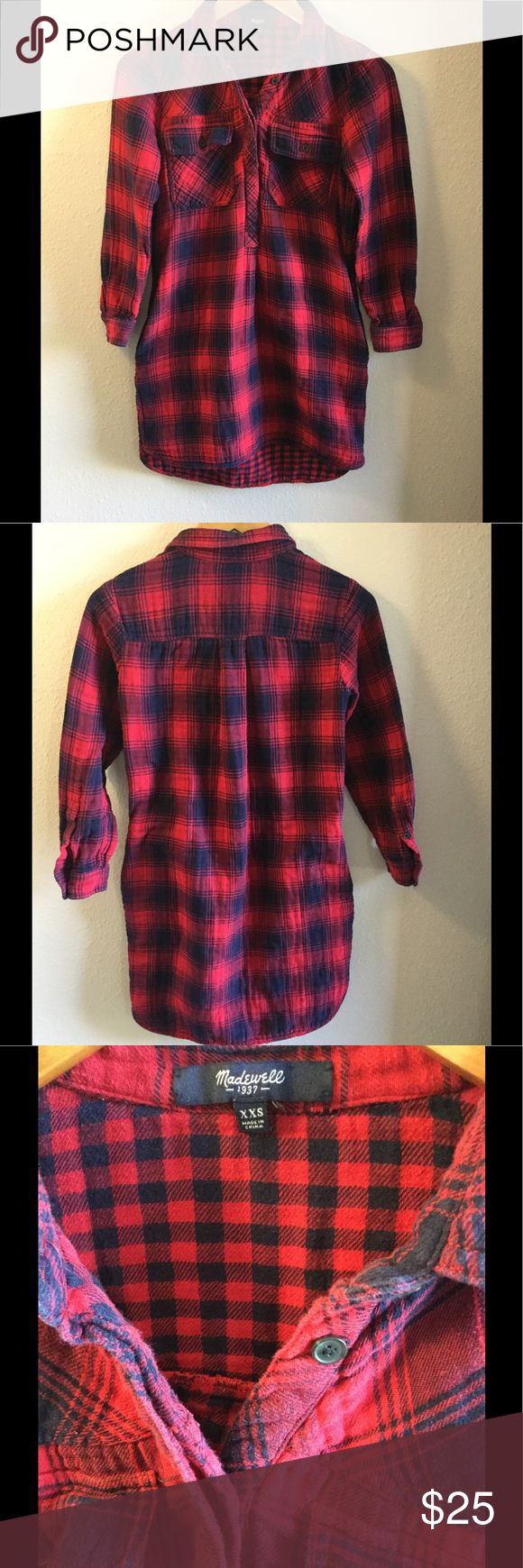Madewell flannel shirt dress 100% cotton. Minor pilling on the sleeves. Thanks for looking! Madewell Dresses