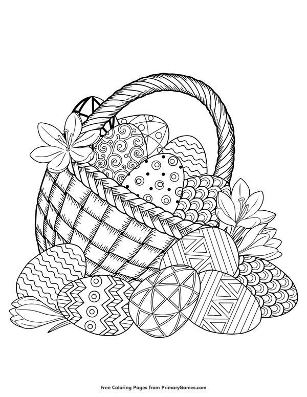 Easter Basket Filled With Eggs Coloring Page Free Printable