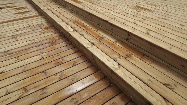 Terrasse réalisée en bois Européen  Sapin rouge du nord autoclave