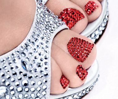 Too much?Toenails, Shoes, Nails Art, Toes Nails, Ruby Slippers, Beautiful, Rhinestone, Red Nails, Bling Bling