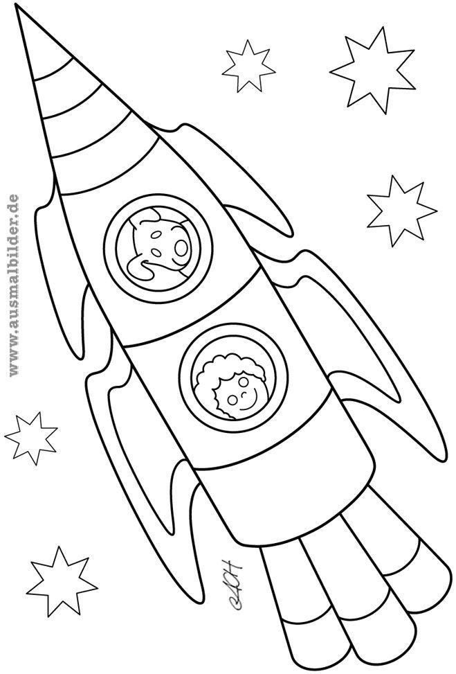 Coloring Page Rocket Coloring Page Robot Rocket Space