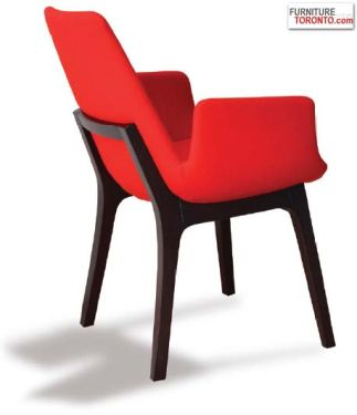 """This is contemporary chair with a comfortable leatherette upholstered seat and backrest on a solid walnut beech. The seat has a steel structure with """"S"""" shape springs for extra flexibility and strength."""