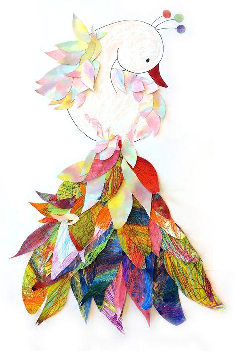 groep 1 t/m4 van de basisschool de Marinx en de Boet in 't Veld maken hier met een 'kunstenaar-in-de-klas-project' (in samenwerking van kunst en tekenwerk met Triade Den-Helder) een fantasie-paradijsvogel. Eerst werden diverse vrije schilder- en tekentechnieken toegepast en vervolgens werden de veren van de mooie kleuren papier uitgeknipt en opgeplakt. het werkstuk is 1.50m hoog en 1 m breed