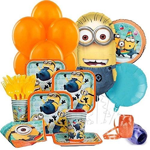 Despicable Me 2 Complete Birthday Party Package for 8 Guests - Includes Balloons Plates Napkins C @ niftywarehouse.com #NiftyWarehouse #DespicableMe #Movie #Minions #Movies #Minion #Animated #Kids