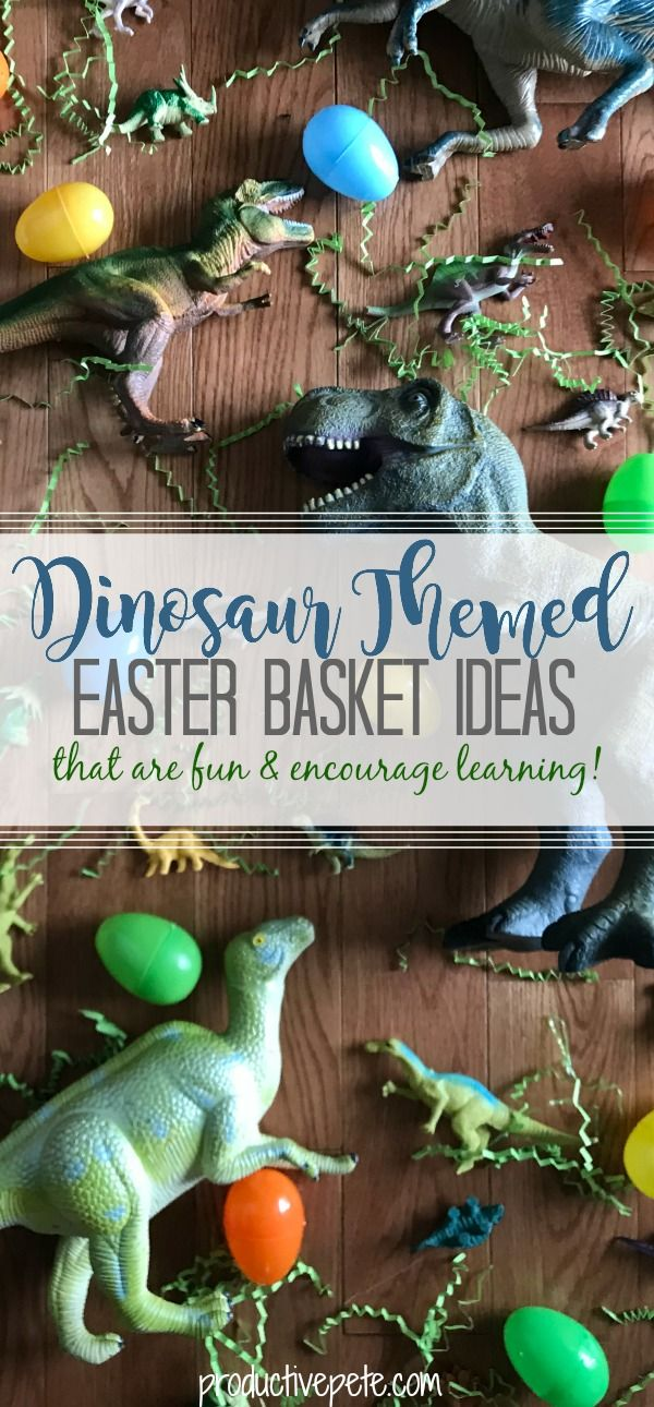 These Dinosaur Easter Basket Ideas are perfect for Boys & Girls! The best part is that these Dinosaur books and toys, won't just be played with for one day. They will continue to encourage learning beyond Easter morning! #Easter #Easterbaskets #Easterfun #Easterideas #Easterbunny #dinosaurs