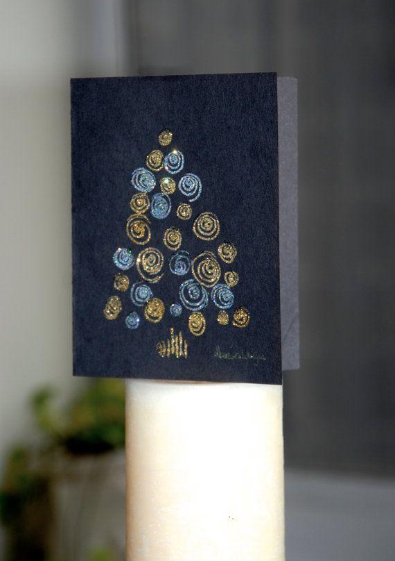 Carte de voeux Noir Or argent  / Happy Holidays par maindepices, $7.00