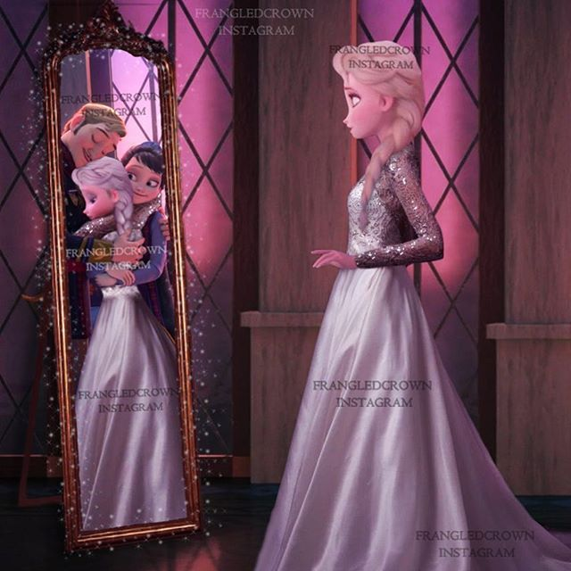 Elsa:*sighs* if only momma and papa were here.  Mirror:Papa:'Elsa were pround if you'  Mama:Honey ur gonna make us proud.  Mirror elsa+mirror papa+mirror mama:*all hugs* Elsa:*tears stroll down face* Anna:Sis come on! The wedding is about to start!!!!