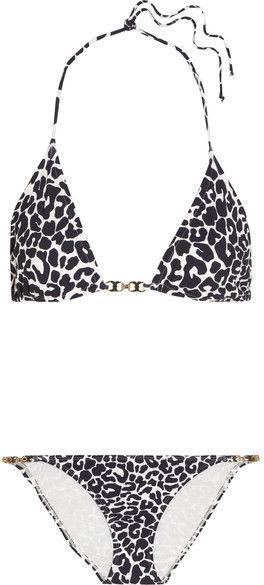 Tory Burch - Leopard-print Triangle Bikini - Navy http://shopstyle.it/l/c7Sh