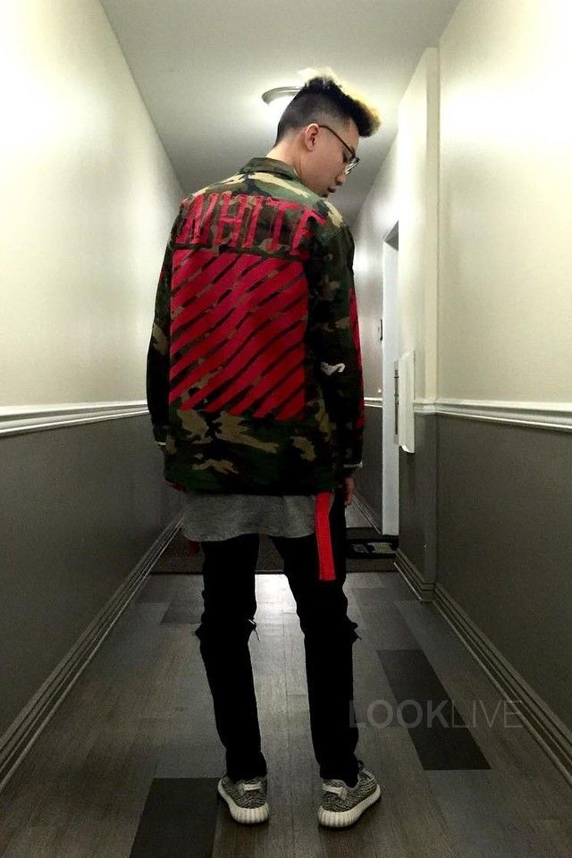 RiceGum wearing Off-White c/o Virgil Abloh Camo Jacket, Adidas Yeezy Boost 350