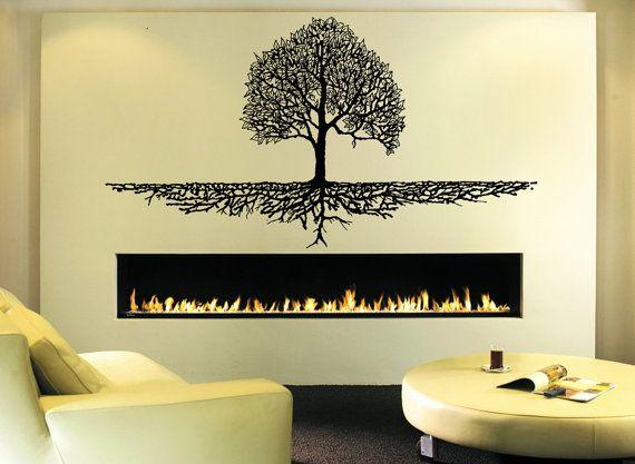 Wall Decal Sticker Bedroom tree of life roots  birds flying away home decor yoga studiodecor 304b