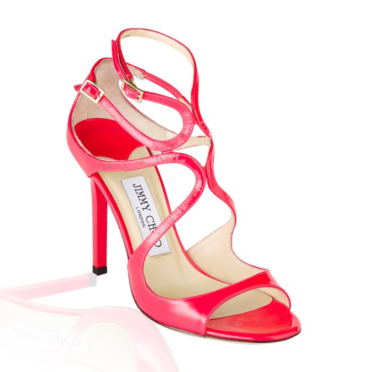 Jimmy Choo Lance Patent Sandal Neon Fuchsia - Classic yet versatile sandal with a glossy finish perfect for an evening out.