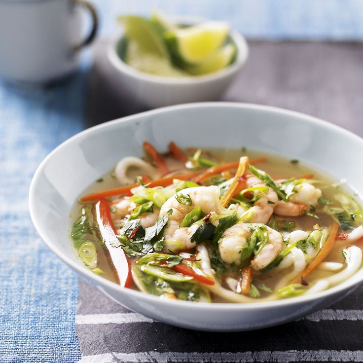 Healthy prawn noodle bowl.  Perk yourself up with this healthy and delicious noodle recipe,  121c per serve