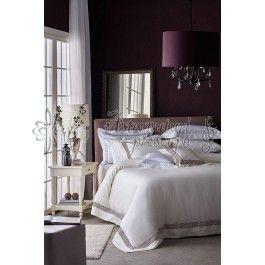 Valeron Serenade - lenjerie de pat de lux din bumbac egiptean crem cu broderie coral