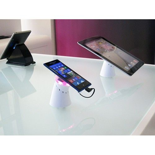 Peak 4W - Tablet and Smart Phone Display with 4 way charging. it is a sophisticated solution to secure and power up smartphones and tablets with the help of the latest technology, the Peak 4W enables Shopguard to power almost any tablet and all smartphones on the market. #TabletDisplaySecurity #AntiTheftSystems