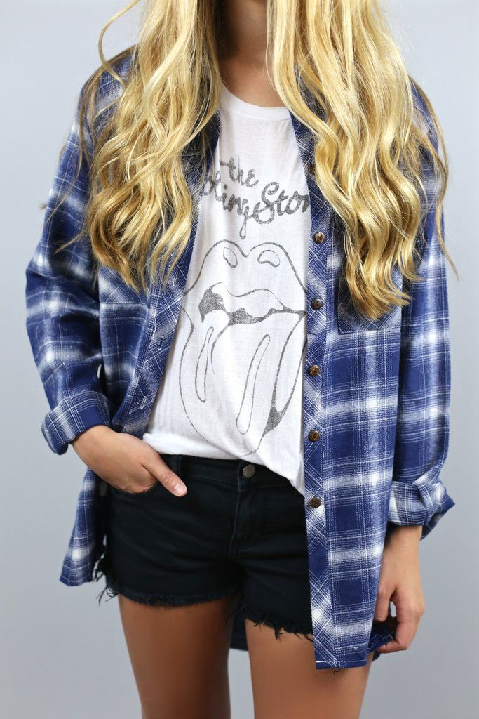 flannel and band tee
