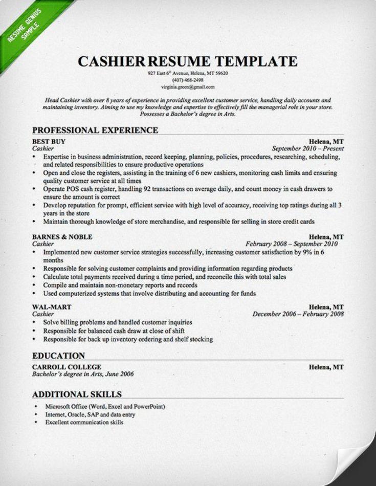 cashier resume sample Teacher resume template, Teacher