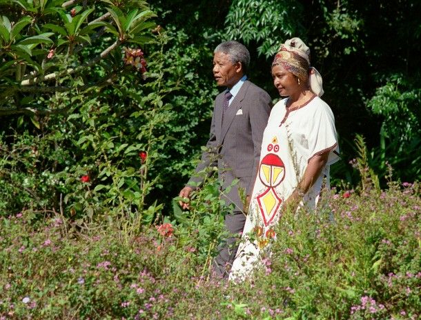 Hand In Hand Mandela and his then-wife Winnie stroll on February 12, 1990 in the garden of Archbishop Desmond Tutu's residence in Cape Town, one day after Mandela's release from jail.