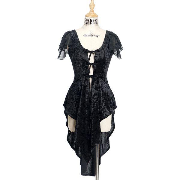 Gothic Fashion Midi Overlay Velvet Tail Dress Retro Long Vest Black... ❤ liked on Polyvore featuring dresses, gray plus size dress, long gray dress, long dresses, grey dress and plus size grey dress