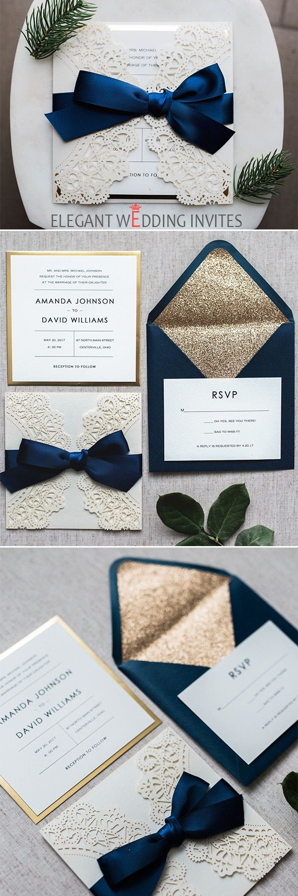 Luxury Pearl White Laser Cut Wedding Invitations with Navy Blue Ribbon and Glittery Mirror Paper EWWS206
