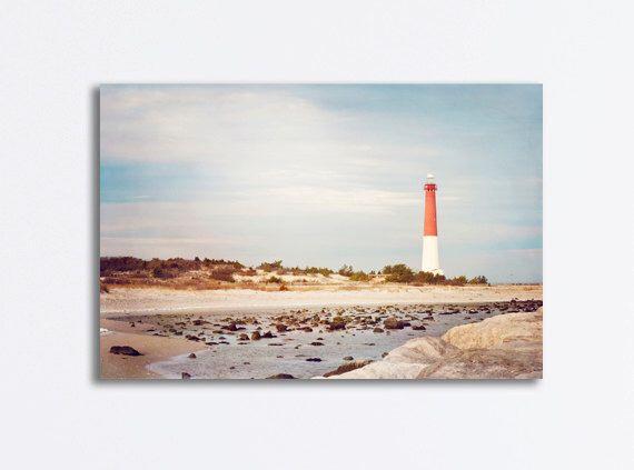 "Lighthouse Canvas Wrap - barnegat light house new jersey shore coast blue brown red coastal wall print gallery - 24x36, 20x30, ""Old Barney"" by CarolynCochrane on Etsy https://www.etsy.com/listing/155595317/lighthouse-canvas-wrap-barnegat-light"