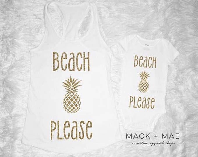 Beach Please Mommy & Me Sparkly Glitter Gold Bodysuit/Tee and Tank Summertime Beach