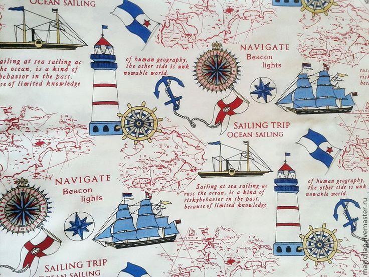 Купить Ткань хлопок Морское путешествие. Поплин для пэчворка, штор, текстиля - ткань, ткань хлопок