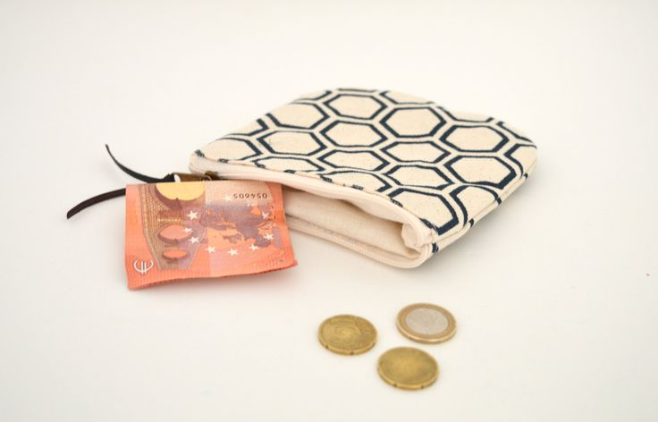 geometric canvas pouch, Screenprint japanese pattern coin purse, japanese bag, Small zipper pouch by UMEHARAKABAN on Etsy