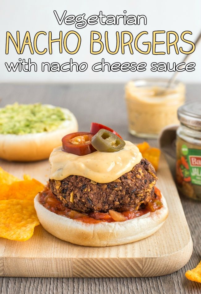 Vegetarian nacho burgers with homemade nacho cheese sauce - these are so good! A simple black bean burger made with crushed tortilla chips and jalapenos, and topped with salsa and avocado. Yum!