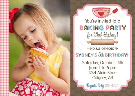 26 best Cooking Birthday Party images – Kids Cooking Party Invitations